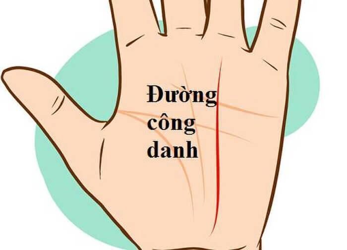 Đường sự nghiệp xuất phát từ giữa cổ tay lên tới gò Thổ Tinh (dưới ngón giữa)