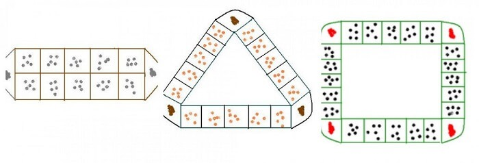 Bàn chơi ô ăn quan lần lượt cho 2 người, 3 và 4 người chơi